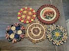 lot of 5 vtg Trivets Colorful Straw Wicker Raffia for Table Wall Decor BEAUTIFUL