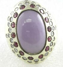 Huge Lavender Jade Ruby Diamond Ring Size 8 ¾ WHOLESALE
