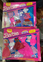 1991 BARBIE 6 Fashion GIFT Set DOLL 12 OUTFITS 792 Clothes Pink Dress Hat Shoe