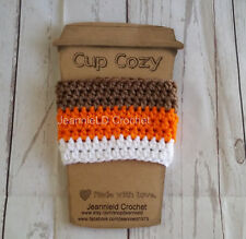 Handmade Crochet Coffee Cup Cozy/Sleeve/Holder Mason Jar Holder - Candy Corn C