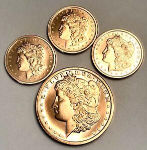 1 Oz 2011 Morgan Copper Round & 3 X 1/4 Oz Copper Rounds; Golden State Mint. BU