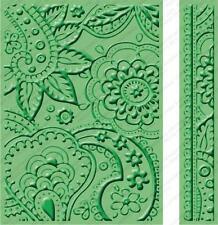 "Cricut Cuttlebug Embossing Folder 5 x7"" Border Bit Of Paisley  Birthday"
