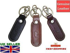 Leather Keyring Fob Black Brown Burgundy Navy Blue Fast Delivery UK Seller