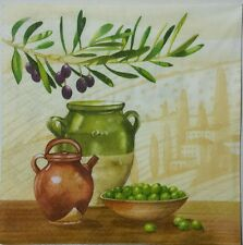 TUSCAN OLIVES 2 individual LUNCH SIZE paper napkins for decoupage 3-ply