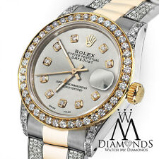 Ladies 26mm Rolex Oyster Perpetual Datejust Custom Diamonds Silver Dial