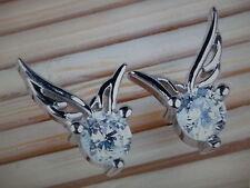 Cute Silver And Crystal Angel Wings Stud Earrings