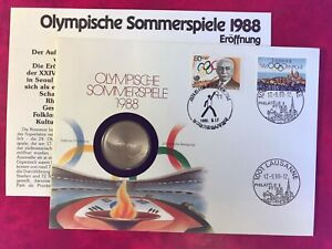 SWITZERLAND KOREA 1988 FDC NUMISBRIEF COIN SUMMER OLYMPICS 5 SWISS FRANCS