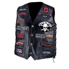 Diamond Plate Handsewn Pebble Grain Genuine Buffalo Leather Biker Vest With 23 P