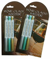 Wine Glass Writers Original Metallic, 2 PACK, Set of 6 Reusable Wine Marker Pens