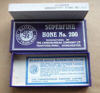 Aloxite superfine hone no.200 in box, good condition, some cracking.