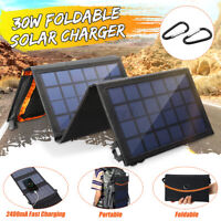 Portable Solar Folding Charger Power 30W 5V Panel Bank Dual USB Port Camping F