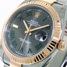 ROLEX 126331 DATEJUST 41 mm EVEROSE PINK GOLD OYSTER SLATE GREEN ROMAN NUMERAL
