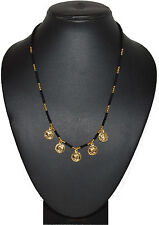 One Gram 24kt Gold Plated Black Gini Moti Mala 18 Inch For Women Mangalsutra1129