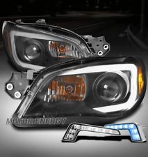 FOR 06-07 SUBARU IMPREZA WRX LED BLACK PROJECTOR HEADLIGHTS LAMP W/BLUE DRL KIT