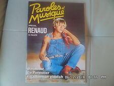PAROLES ET MUSIQUE N°58 03/1986 RENAUD BACHELET LE FORESTIER YIDDISH      G74