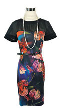 LEONA EDMISTON Dress - Vintage Style Black Orange Red Blue Floral Stretch - 10/M