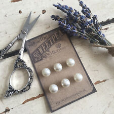 Set of 6 Pretty Vintage-Style Buttons 10mm Cream Pearl Shanked Button Card