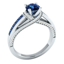 Women 925 Silver Jewelry Round Cut Blue Sapphire Fashion Wedding Ring Size 6-10
