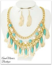 GOLD W/ TURQUOISE & WHITE STONE FEATHER LAYERED STATEMENT NECKLACE & EARRING SET