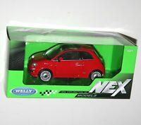 Welly - 2007 FIAT 500 (Red) - NEX Die Cast Model Scale 1:24