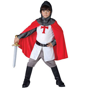 Boys St George Medieval Knight Costume Deluxe Child Crusader Fancy Dress Costume