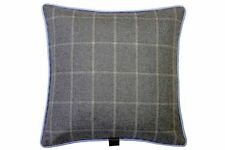 Medium Grey Windowpane Light blue striped silk piping, 43x43