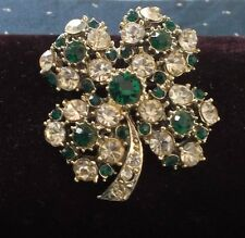Vintage Large BROOCH 4 LEAF CLOVER Pin  Clear and Emerald Green stones.  Silver