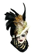Very Unique Creations Porcelain Black Gold Lady Face Mask Wall Hanging Feathers