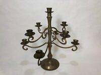"Vintage Brass Candelabra 9 Candle Holder 8 Arm Centerpiece Candlestick, 14"" Tall"