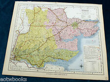 ESSEX - Original Antique County Map  - LETTS - 1884, cloth mounted.