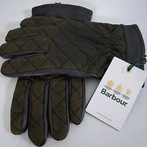 Barbour Dalegarth Waterproof Leather and Waxed Cotton Gloves Men's Size L Brown