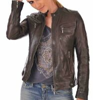 Women's Genuine Leather Motorcycle Slim Fit Bomber Biker Jacket Dark Brown Waxed