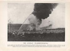 1918 WW1 WORLD WAR I WWI PRINT ~ FRENCH SOLDIERS TESTING GERMAN FLAMMENWERFER