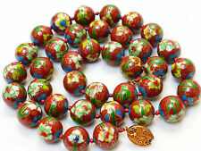 VINTAGE CHINESE CLOISONNE ENAMEL 15.5mm LARGE BEADS NECKLACE, SILVER CLASP