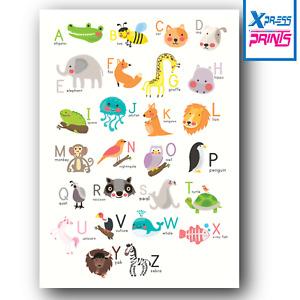 ABC Alphabet Educational, Nursery, Kids Classroom School, Animal A3 A4 Poster #2