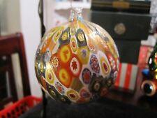 NEW MURANO MILLEFIORI MULTICOLOR CHRISTMAS ORNAMENT BALL ITALIAN ART GLASS