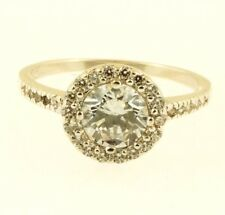 Sterling Silver Simulated Diamond Halo Cluster Ring (Size Q 1/2) 11mm Head
