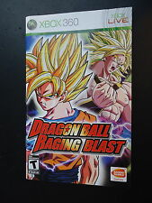 Dragon Ball Raging Blast (Manual Only) Xbox 360 NO GAME MINT