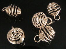 10 x 9mm Gold Plated Lantern Coil Pendant Charm Beads Cages Jewellery F175
