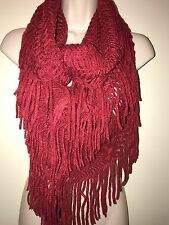 MADDEN GIRL Women's Fringed Open-Knit Infinity Scarf RED ONE SIZE NEW Tags Warm