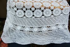 """Crochet Tablecover Tablecloth Coverlet Bedspread 88"""" x 72"""" White Scalloped Edge"""