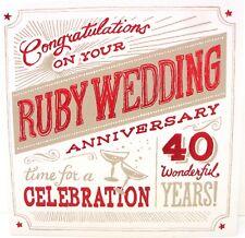 """Ruby Anniversary  """"40 WONDERFUL YEARS """"  Anniversary Card"""