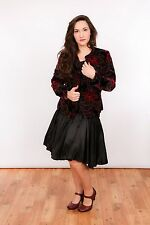 Vestido de dama de honor 80s de colección chaqueta de terciopelo rara 2 Pieza Vestido su sentido 6th 80s