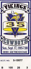 1995 Cowboys v Vikings Ticket 9/17/95 Dallas Season Champs 32436