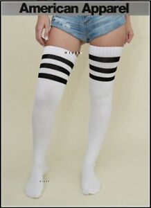 American Apparel Thigh High Socks White Black Stripe Over The Knee Long Winter