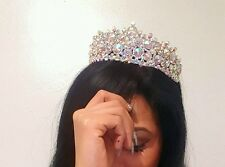 Quincianera SWEET 16 iridescent GOLD Crystal RHINESTONE HAIR COMB TIARA CROWN