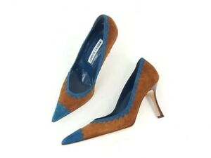 Manolo Blahnik Brown Teal Suede Pointed Toe Pumps Heels Shoes Size 37