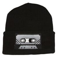 Winter Knit Black Beanie Cuff Cassette Tape 3D Patch Embroidery