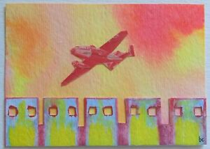 """""""Flying"""" Original Collage Pop Surrealism Mixed Media Plane Stamp Fine Art ACEO"""