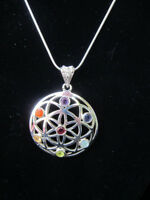 Chakra Flower of Life Pendant Necklace Snake Chain Reiki Healing Crystal